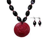 Black Onyx & Red Coral Necklace Set