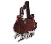 Suede Messenger Bag with Chains & Charms