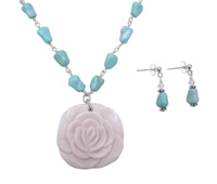 White Bone Flower and Turquoise Necklace Set