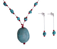 Turquoise Chips and Red Coral Necklace set