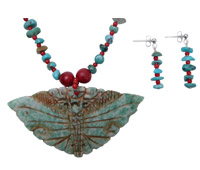 Butterfly Jade and Turquoise Necklace Set