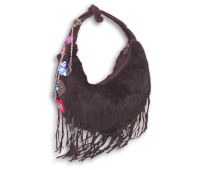 Fur on Suede Fringe Hobo with Chains & Charms