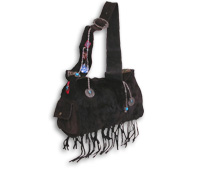 Fur on Suede Hobo with Chains & Charms