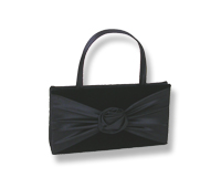 Black Bow Satin Evening Tote